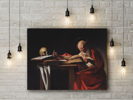 Caravaggio: Saint Jerome Writing. Fine Art Canvas.